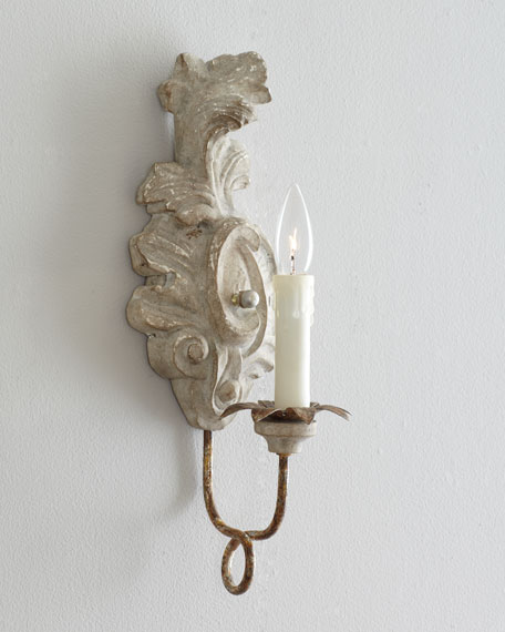 White Scroll Wall Sconce