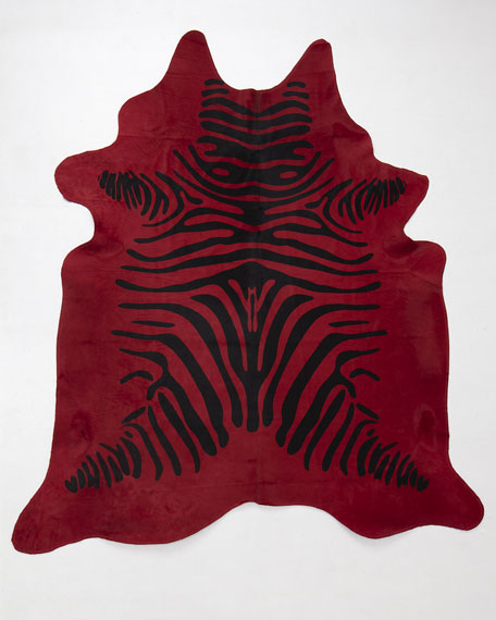 """Red Zebra"" Hairhide Rug, 6' x 7'"
