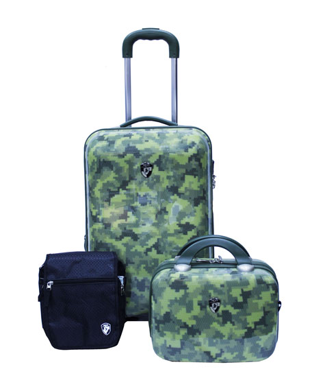 Three-Piece Camo-Print Fashion Weekender Luggage Set