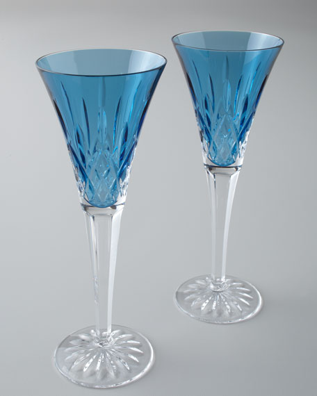 "Two ""Lismore Jewels"" Aquamarine Toasting Flutes"