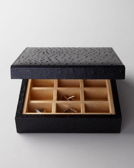 Ostrich-Print Cufflink Box