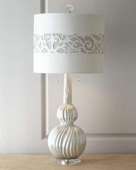 """Frost Swirl"" Pearlescent Table Lamp"
