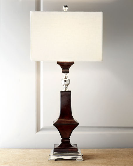 Espresso Leather Table Lamp