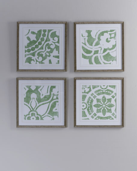 Four Green Prints