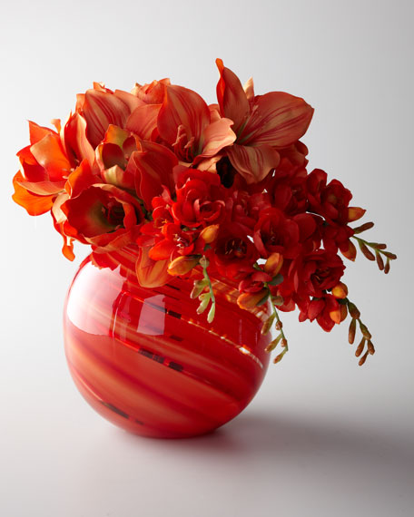 """Orange Sherbet"" Faux Floral Arrangement"