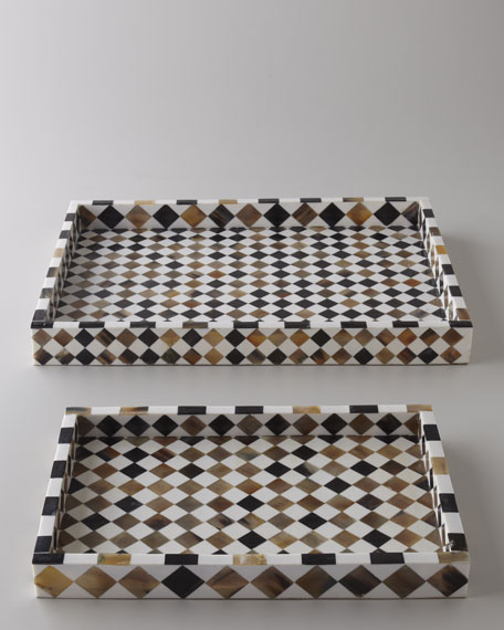 Two Bone Inlay Mosaic Trays