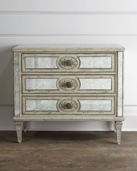 """Lometa"" Antiqued-Mirrored Chest"