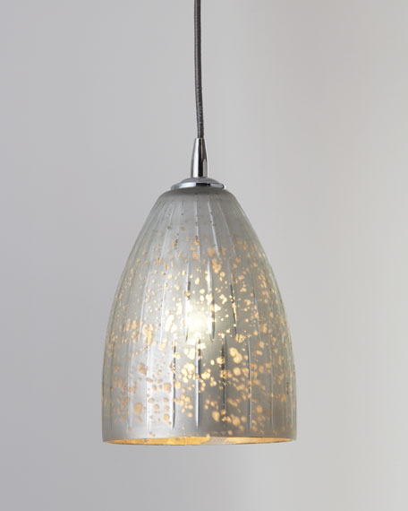 """Striped Silver"" Dome Pendant Light"