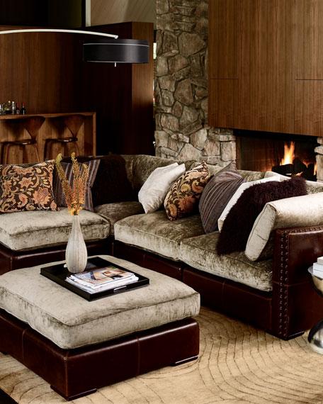 Chenille & Leather Ottoman