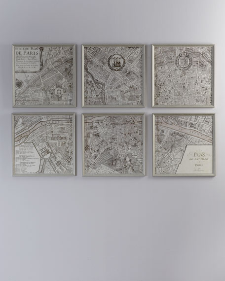 "Six ""Paris, 1715"" Map Prints"