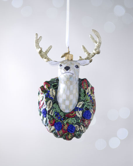 """""""Parchment Check"""" Deer Holiday Ornament"""