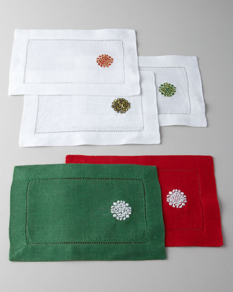 "Four ""Holiday Medallion"" Cocktail Napkins"
