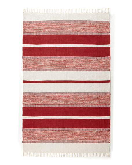 "Red/White ""Blasio Stripes"" Rug, 5' x 8'"