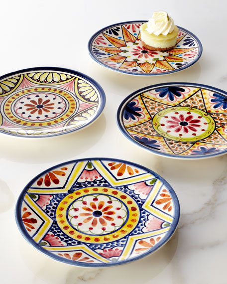 "Four ""Kaleidoscope Flower"" Appetizer Plates"