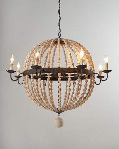 Wood Bead Sphere Chandelier