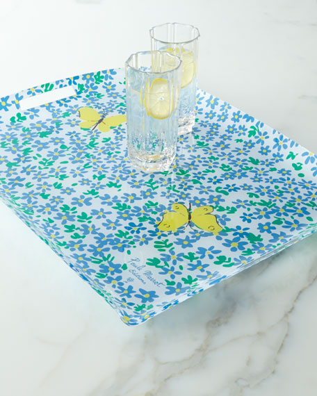 """Forget-Me-Not"" Acrylic Tray with Handles"
