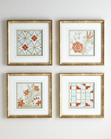 """Four """"Garden Tiles"""" Prints"""
