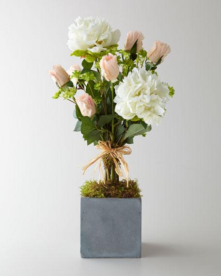 """""""Petite Pivoine de Reve"""" Faux Floral Arrangement"""
