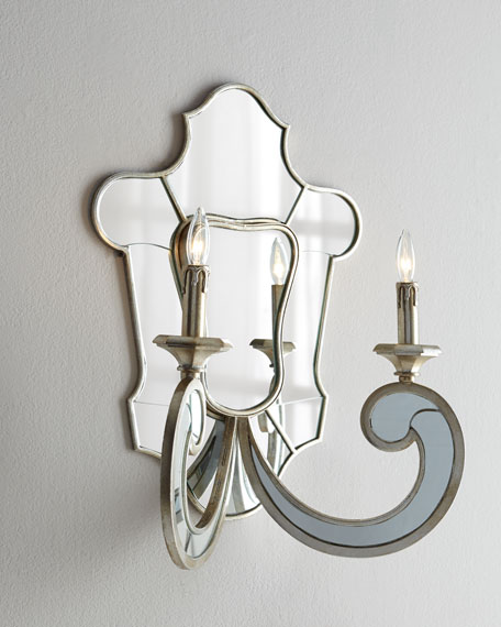 "Mirrored ""Shield"" Sconce"