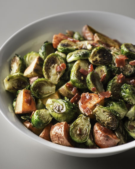 Roasted Brussels Sprouts with Red Potatoes & Bacon