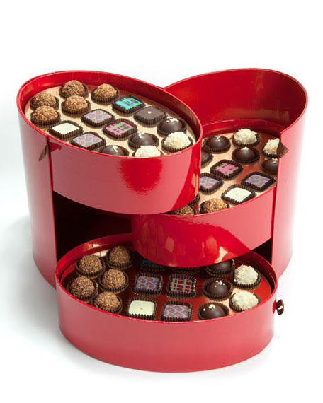 48-Piece Red Hatbox Chocolate Assortment