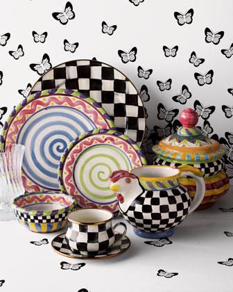 Mackenzie childs piccadilly dinnerware for Mackenzie childs fish rug