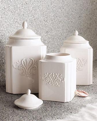 Three White Ceramic Canisters