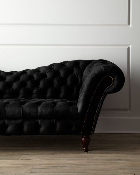 Black Recamier Leather Sofa 90.25\