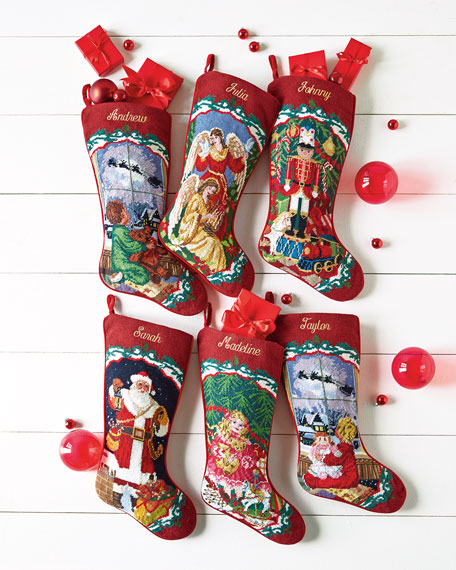 SFERRA Needlepoint Christmas Stocking