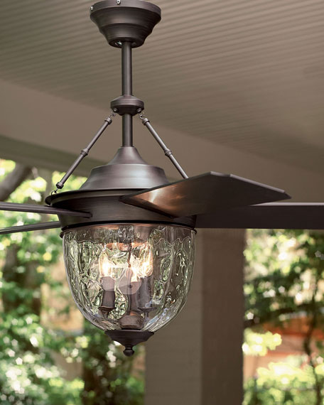 Beau Dark Aged Bronze Outdoor Ceiling Fan With Lantern