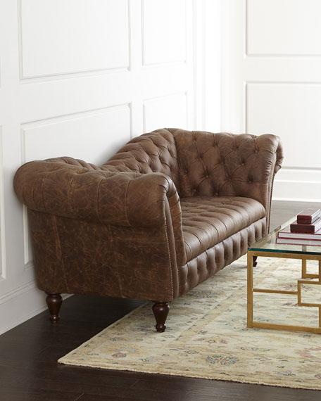 Superbe Oak Leather Recamier Sofa