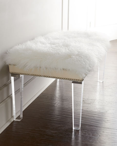 overstock garden free home zelda sheepskin shipping bench today product fccb white