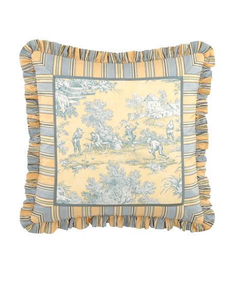 "20""Sq. Lutece Cypress Toile Pillow w/ Striped Ruffle"