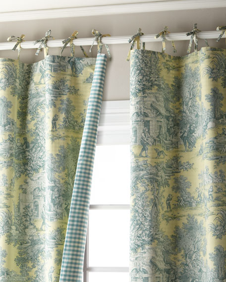 "Each 50""W x 96""L Lutece Cypress Toile/Check Curtain"