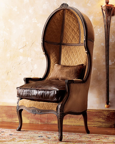 Beau Old Hickory Tannery Leather Balloon Armchair