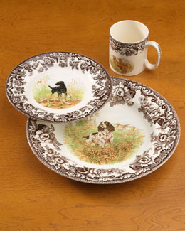 Four Woodland Hunting Dog Dinner Plates