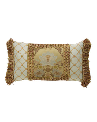 Petit Trianon Pieced Pillow with Side Fringe  15 x 26