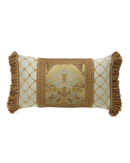 "Petit Trianon Pieced Pillow with Side Fringe, 15"" x 26"""