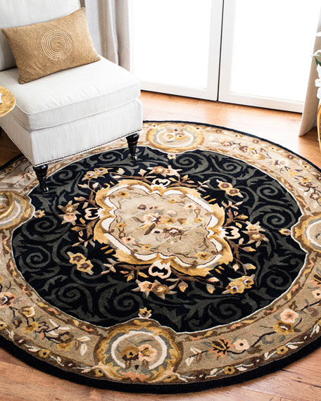"Aubusson Night Rug, 3' 6"" Round"