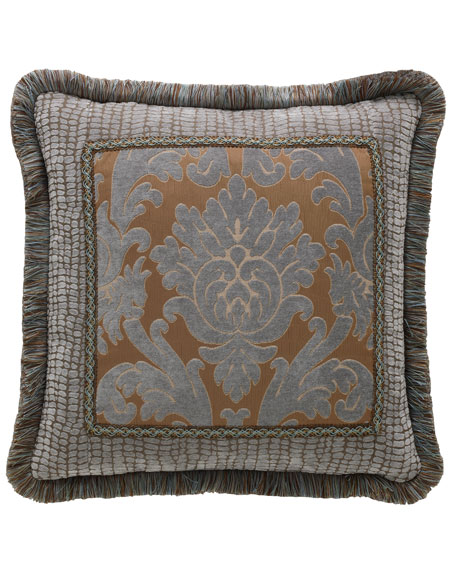 "Bella Damask Pillow, 20""Sq."