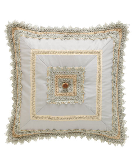 "Crystal Palace Mitered Blue Silk Pillow, 18""Sq."