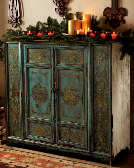 Hand Painted Wood Cabinet