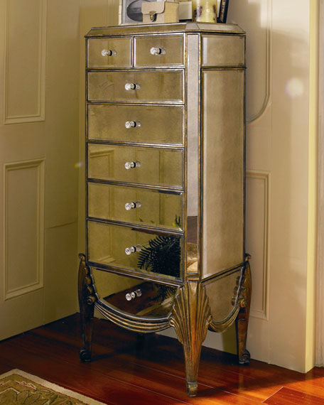 """Claudia"" Mirrored Jewelry Armoire"