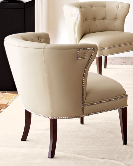 Creamy Leather Scoop Chair