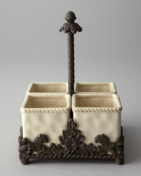 G G Collection Ceramic Flatware Caddy