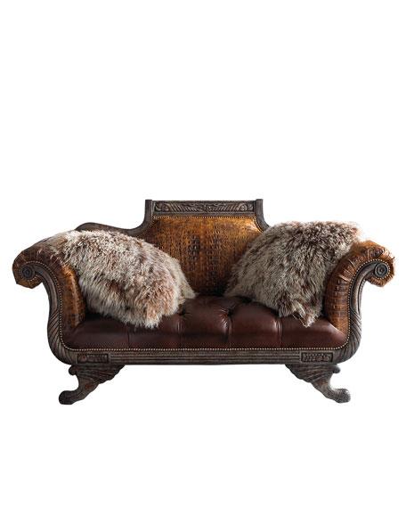 Shaggy Leather Settee