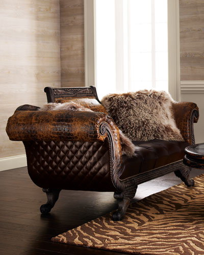 Shaggy Leather Settee