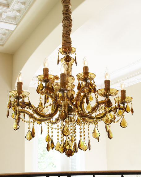Golden Teak 12-Light Chandelier