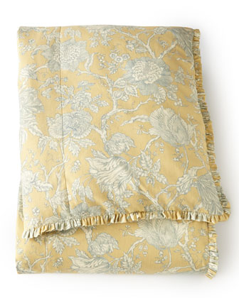 Queen Spring Garden Toile Duvet Cover