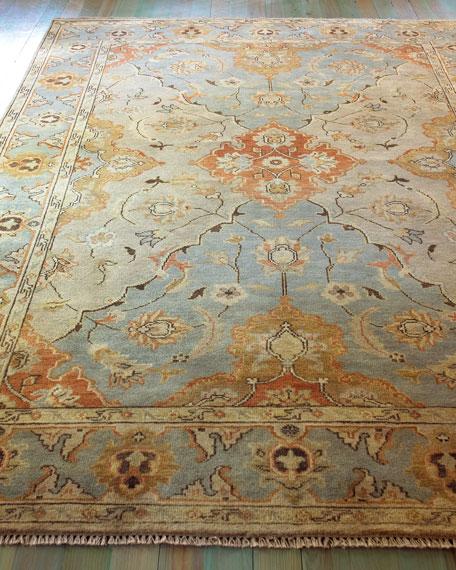 Damask on Blue Oushak Rug, 4' x 6'